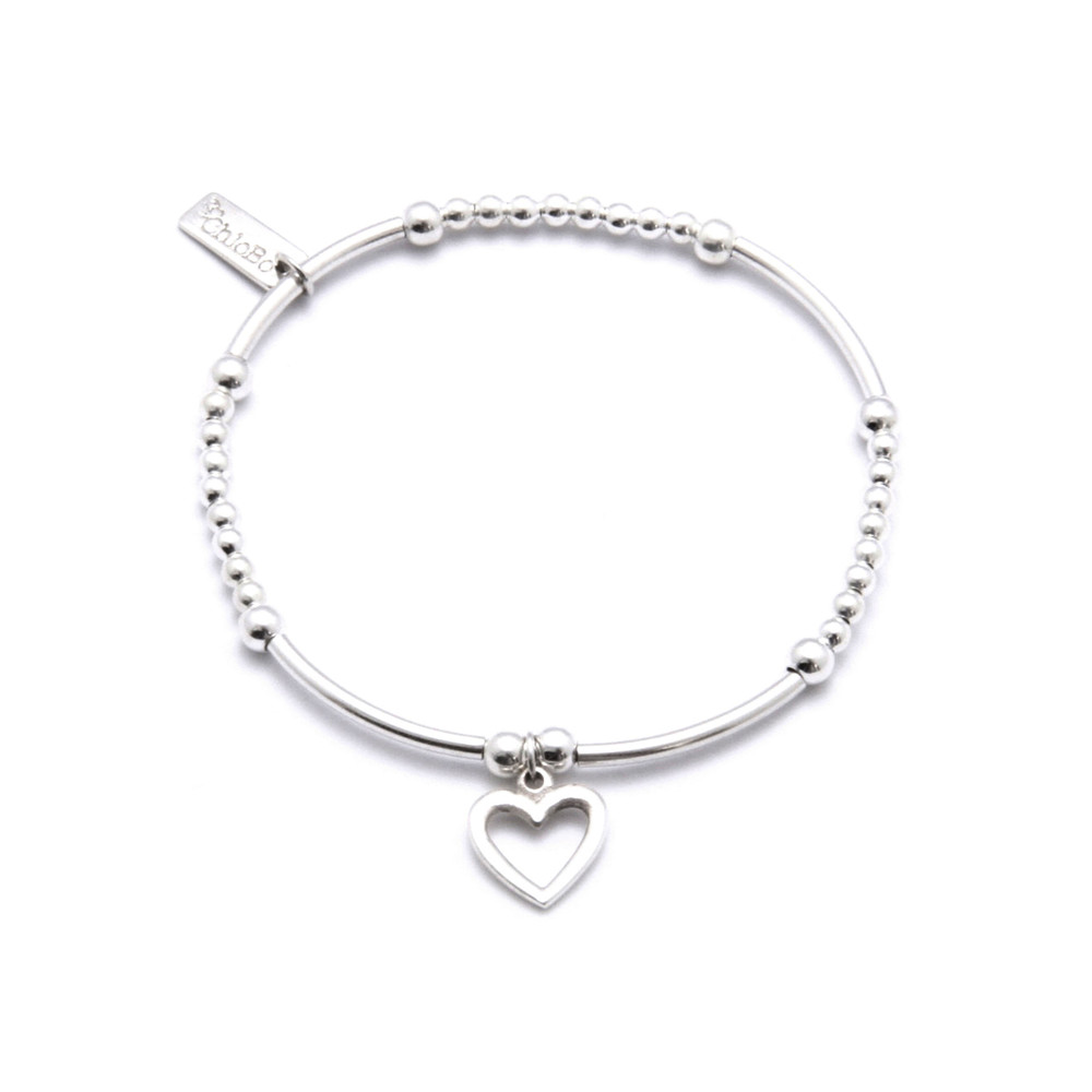 Cute Mini Bracelet With Open Heart Charm - Silver