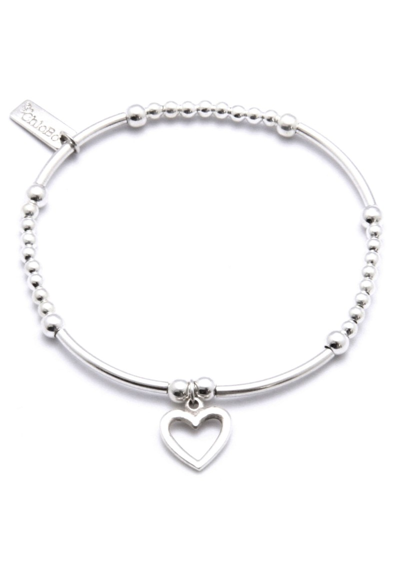Cute Mini Bracelet With Open Heart Charm - Silver main image