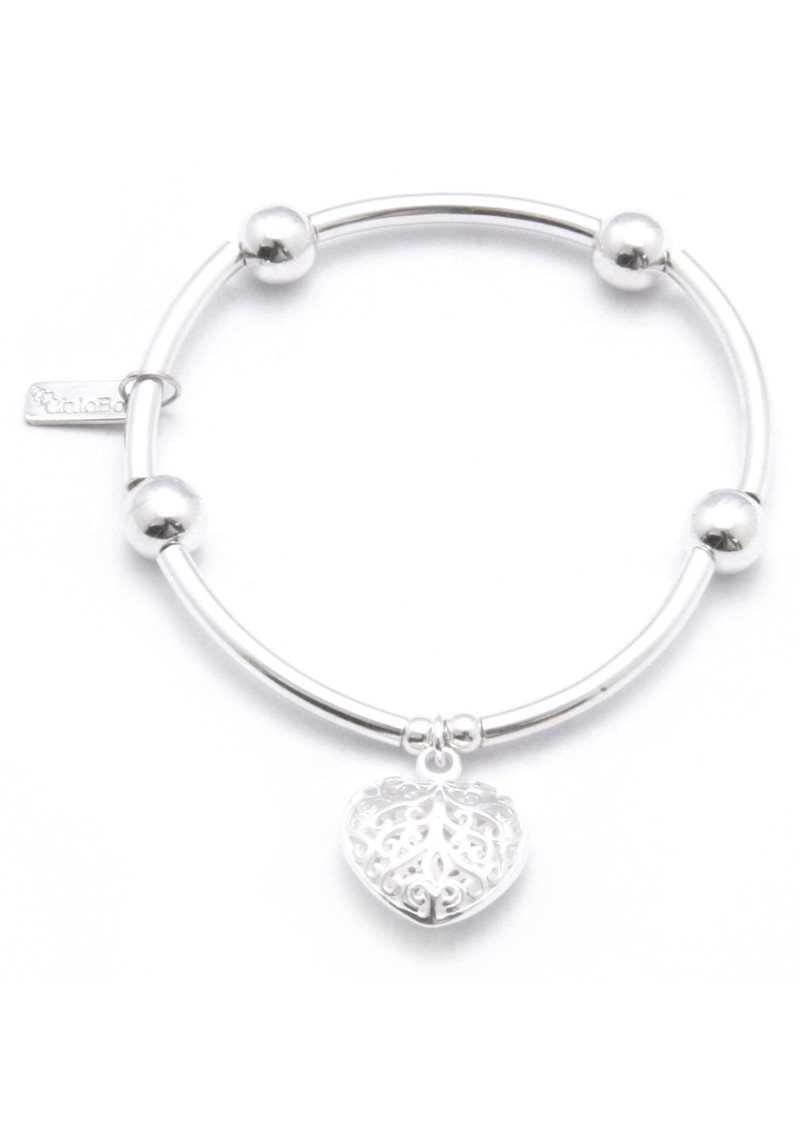 ChloBo Noodle Ball Bracelet With Filligree Heart - Silver main image