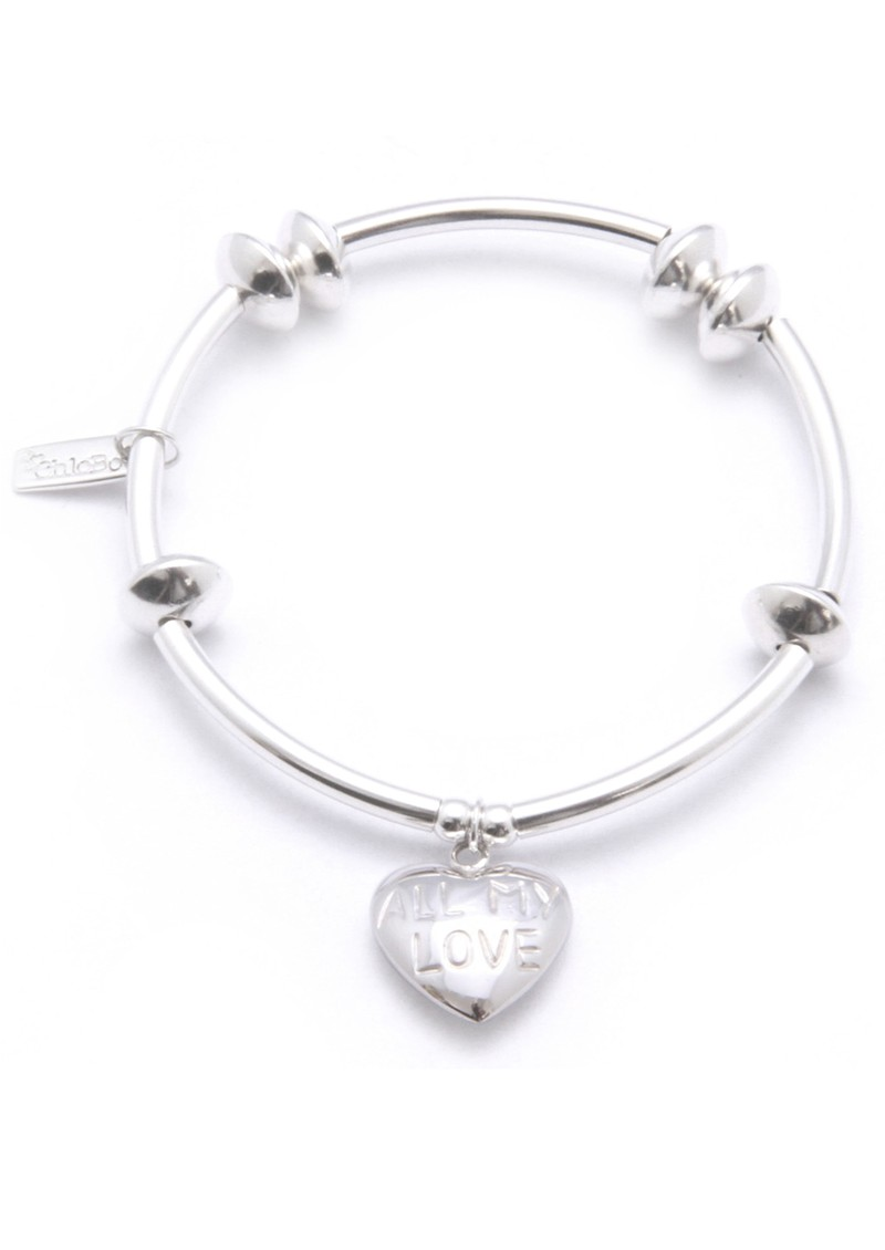 ChloBo Noodle Disc Bracelet with All My Love Heart Charm - Silver main image