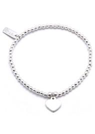 ChloBo Cute Charm Bracelet With Heart - Silver
