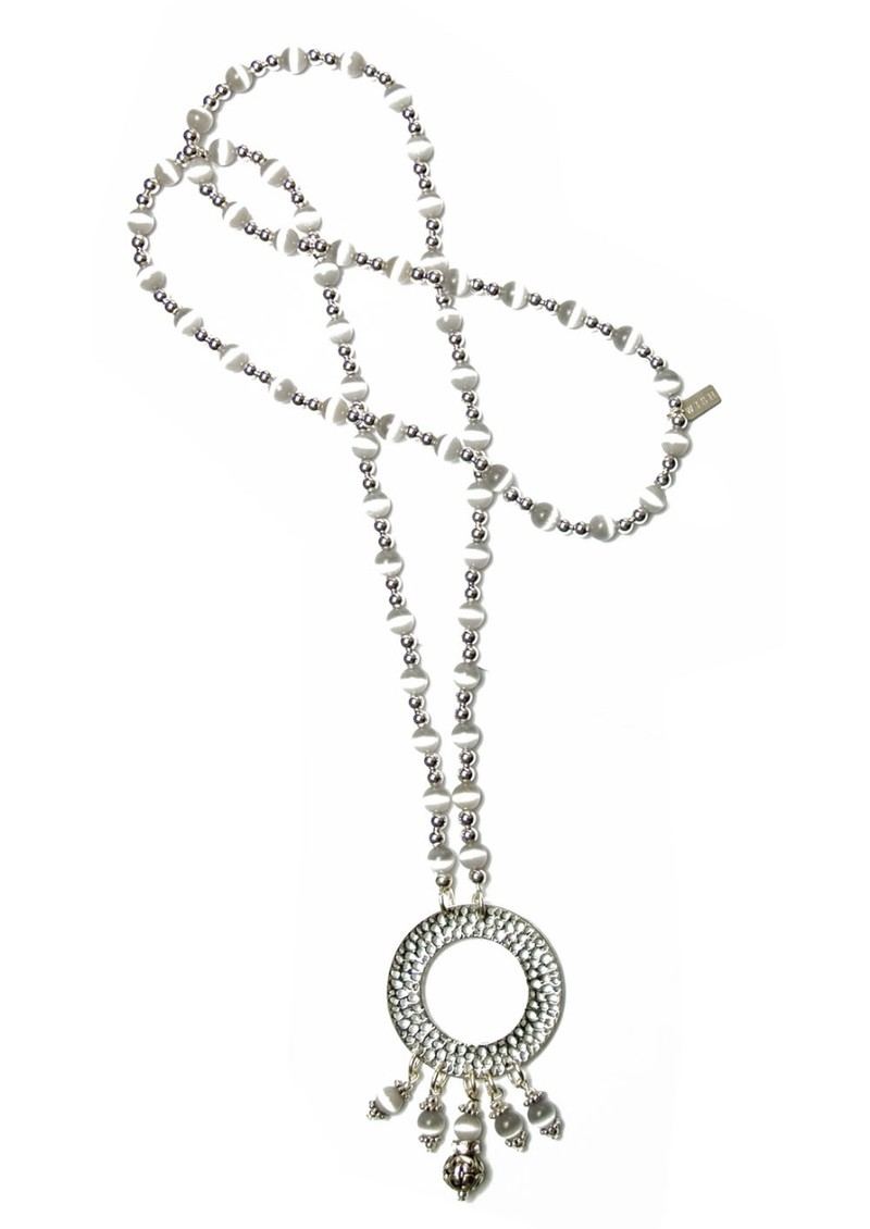 Wish Exclusive Circle Pendant Necklace - White & Silver  main image