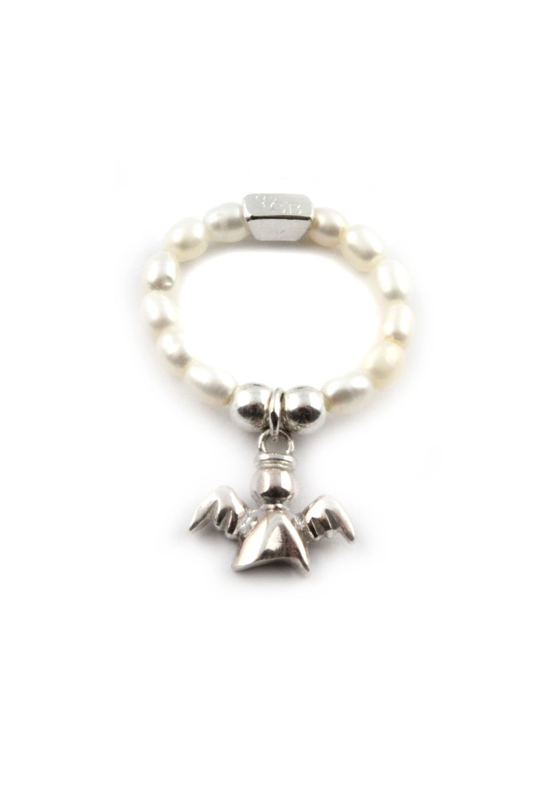 Pearl Ring With Angel Charm main image