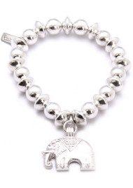 ChloBo Medium Ball Disc Bracelet With Elephant Charm - Silver
