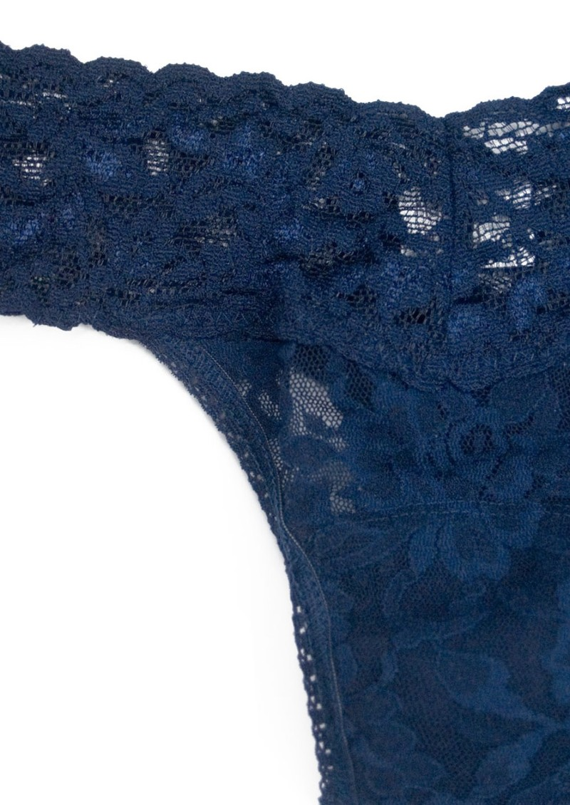 Hanky Panky Signature Rolled Lace Thong - Navy main image