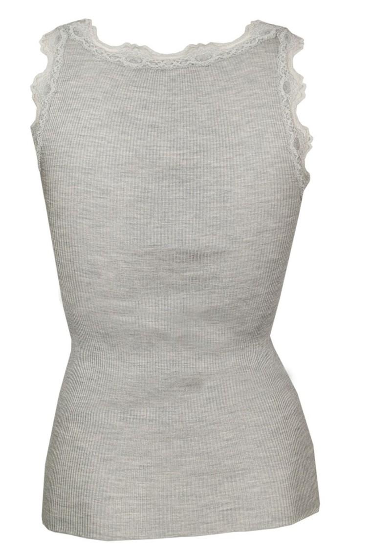 Rosemunde Silk Blend Lace Vest - Light Grey Melange main image