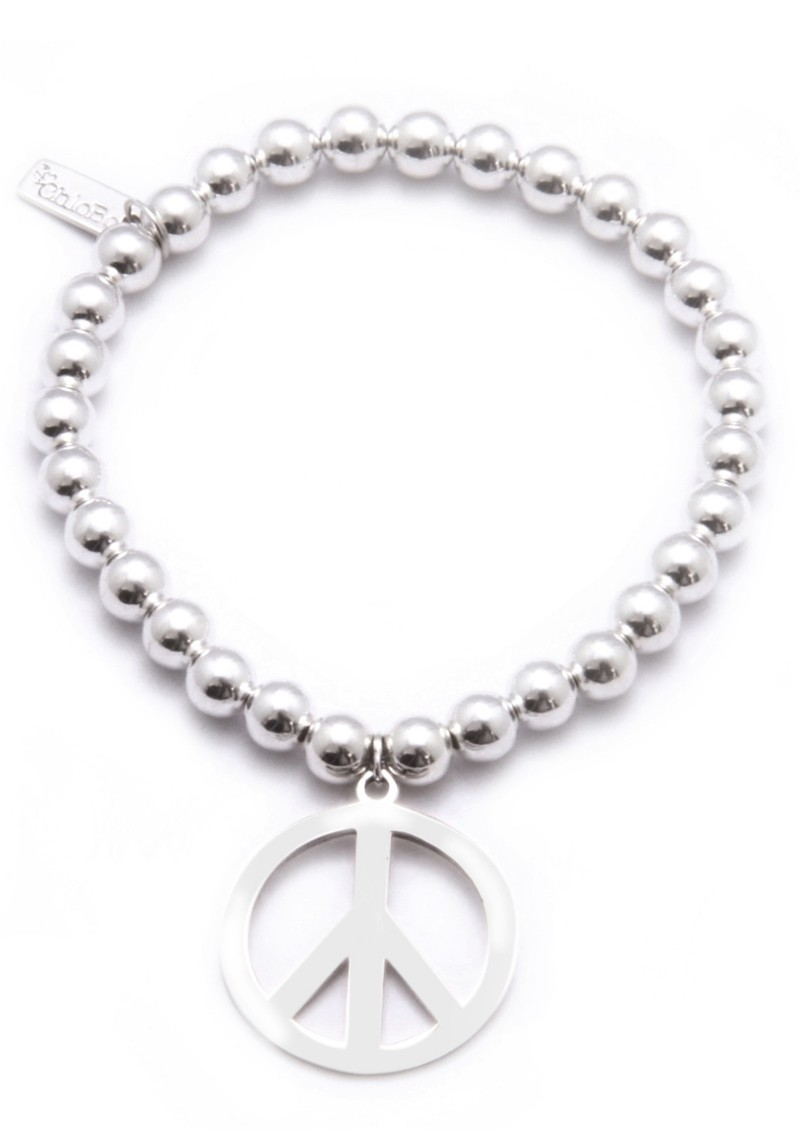ChloBo Small Ball Bracelet with Large Peace Sign main image