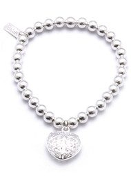 ChloBo Small Ball Bracelet with Filagree Heart Charm
