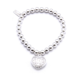 Small Ball Bracelet with Filagree Heart Charm