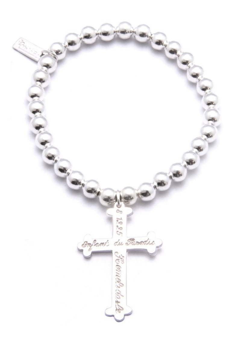 ChloBo Small Ball Bracelet with Large Inscribed Cross Charm main image