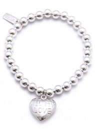 ChloBo Small Ball Bracelet with All My Love Heart Charm