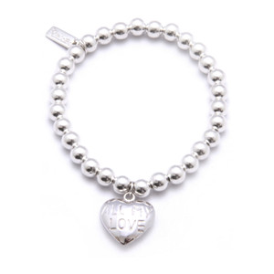 Small Ball Bracelet with All My Love Heart Charm