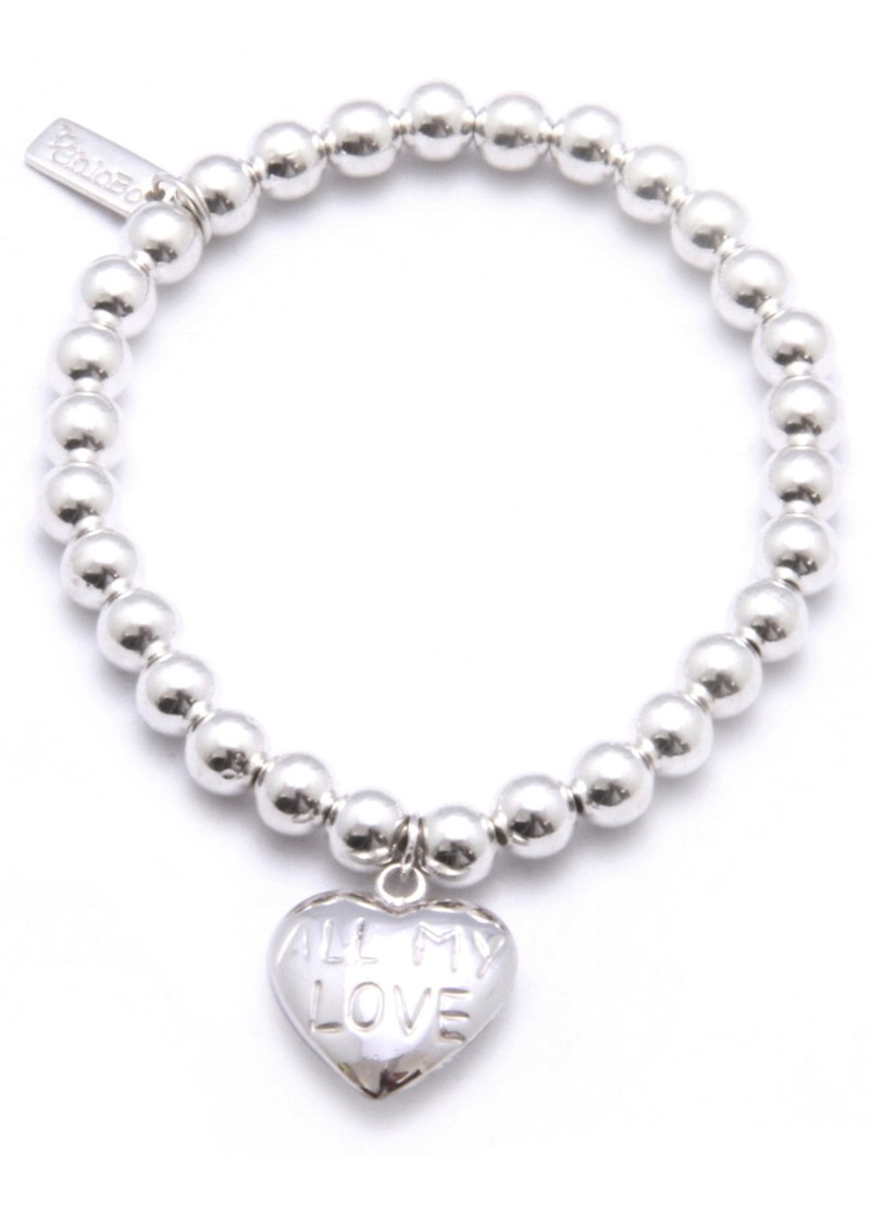 ChloBo Small Ball Bracelet with All My Love Heart Charm main image