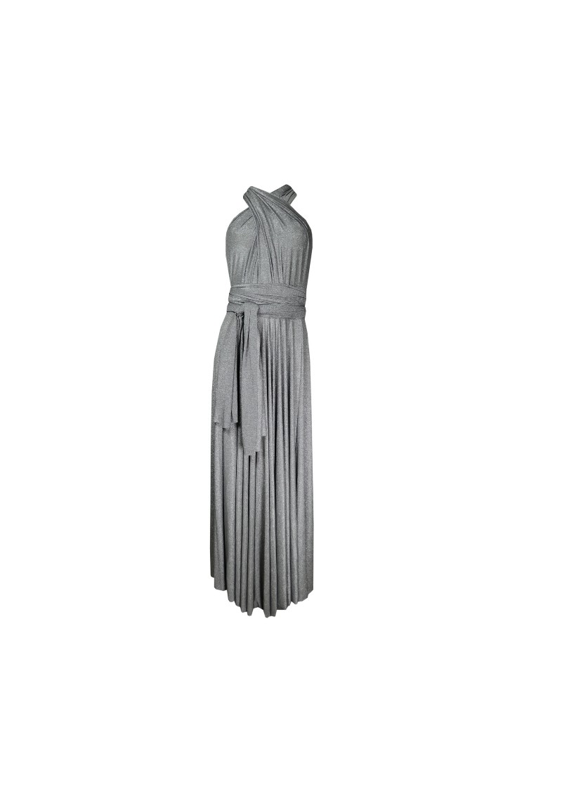 Butter By Nadia Long Satin Ball Gown - Silver Sparkle main image