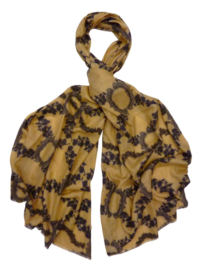 Lily and Lionel Tattoo Wool Scarf - Caramel main image