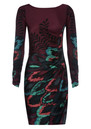 Hale Bob Peacock Silk Dress - Wine
