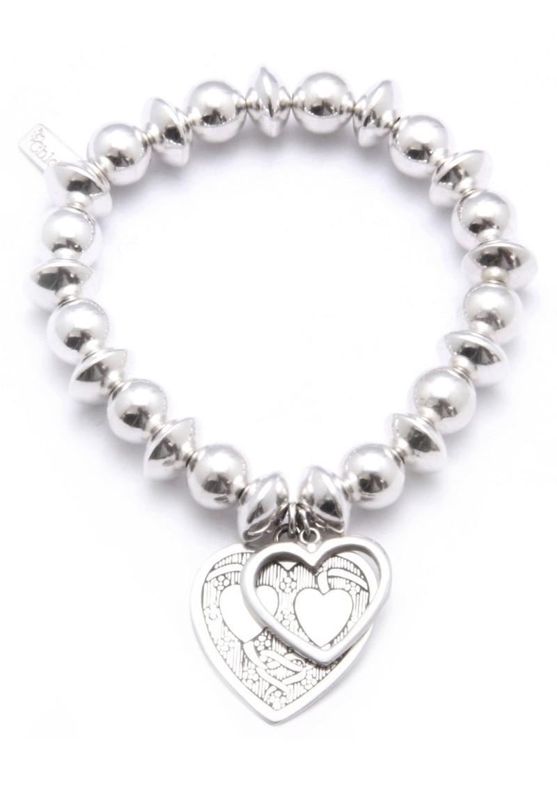 ChloBo Medium Ball & Disc Bracelet With Decorated Heart Charm main image