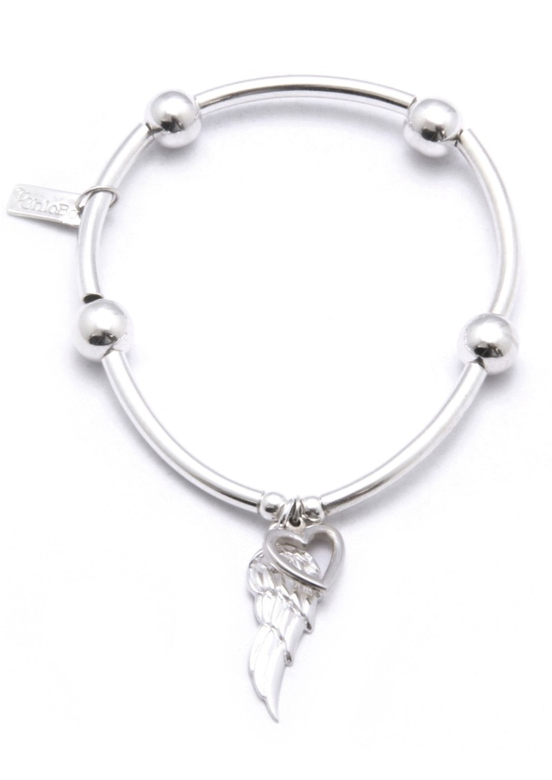 ChloBo Noodle Ball Bracelet With Angel Wing & Open Heart - Silver main image