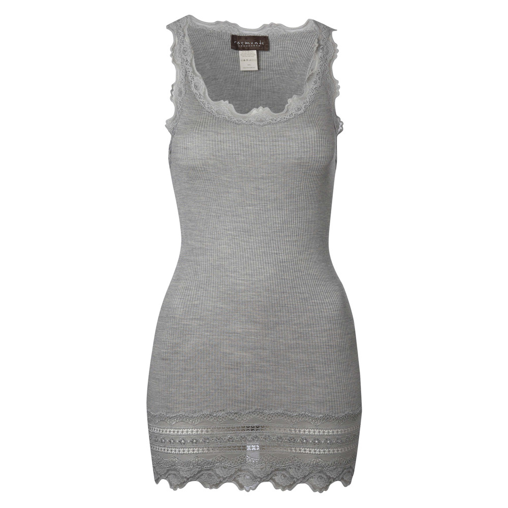 Wide Lace Silk Blend Vest - Grey