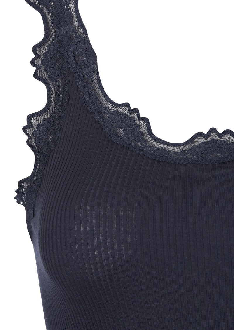 RRP £55. Rosemunde vest with wide lace hem in Blueberry//Navy All Sizes