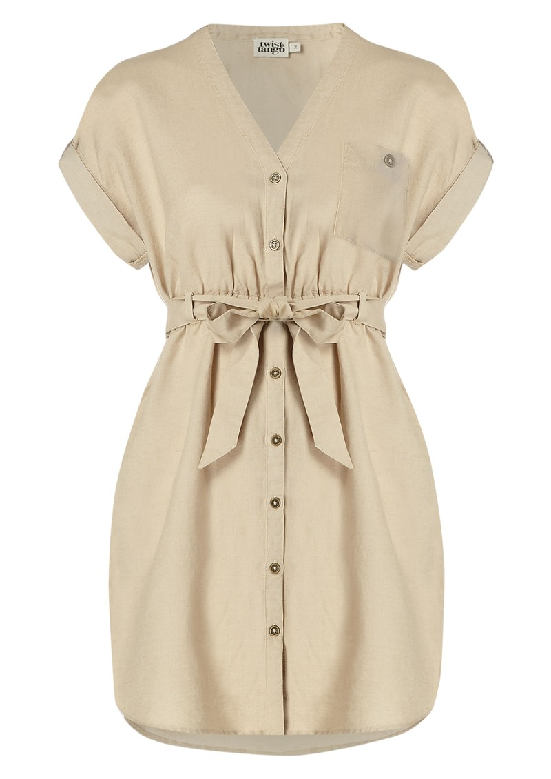 Courtney Linen Mix Shirt Dress - Sand main image