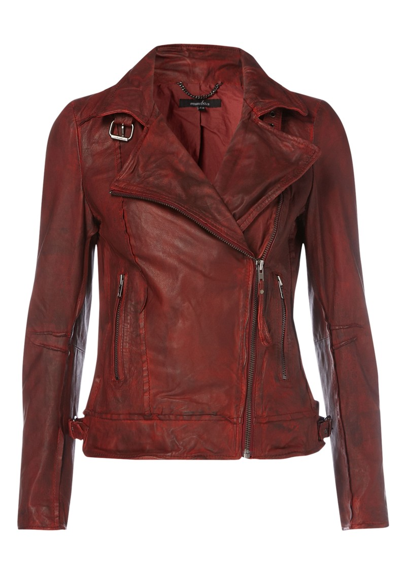 Muubaa Quinn Biker Leather Jacket - Cherry Red main image