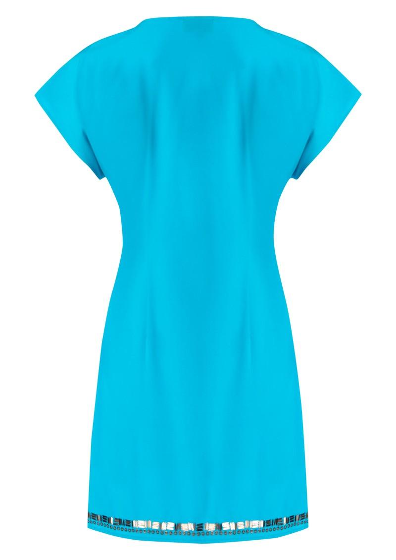 Hale Bob Beaded Charmeuse Silk Dress - Blue main image