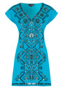 Hale Bob Beaded Charmeuse Silk Dress - Blue