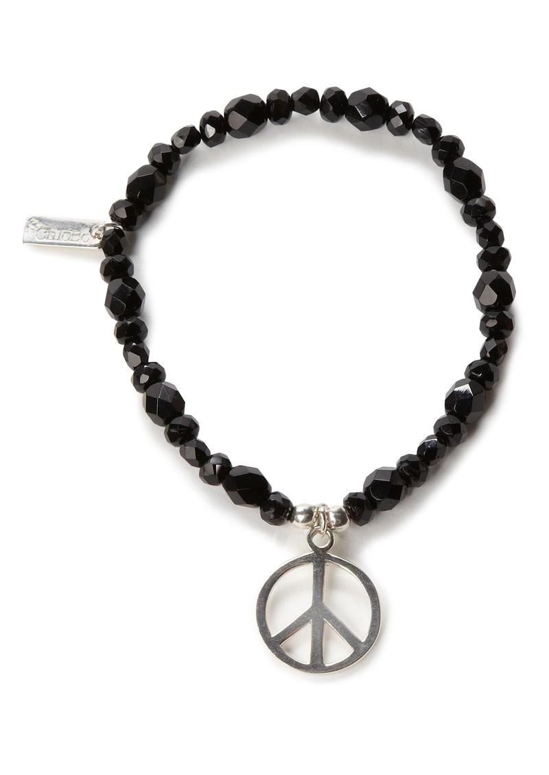 ChloBo Exclusive Large Black Sparkle Bracelet with Peace Charm main image