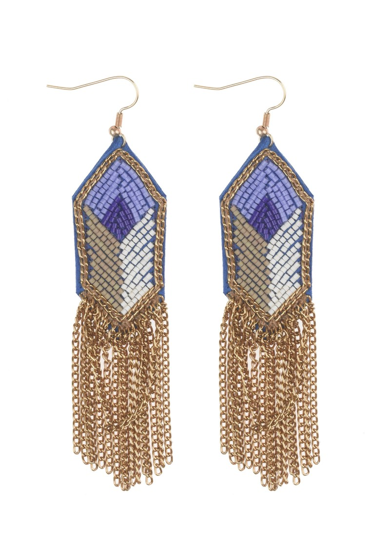 Fiona Paxton Shauna Bead and Chain Earrings - Blue main image
