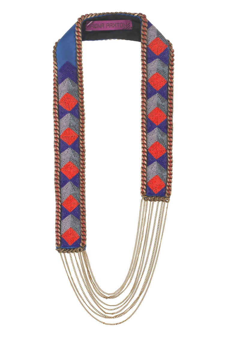 Elva Bead Necklace - Cobalt and Orange main image