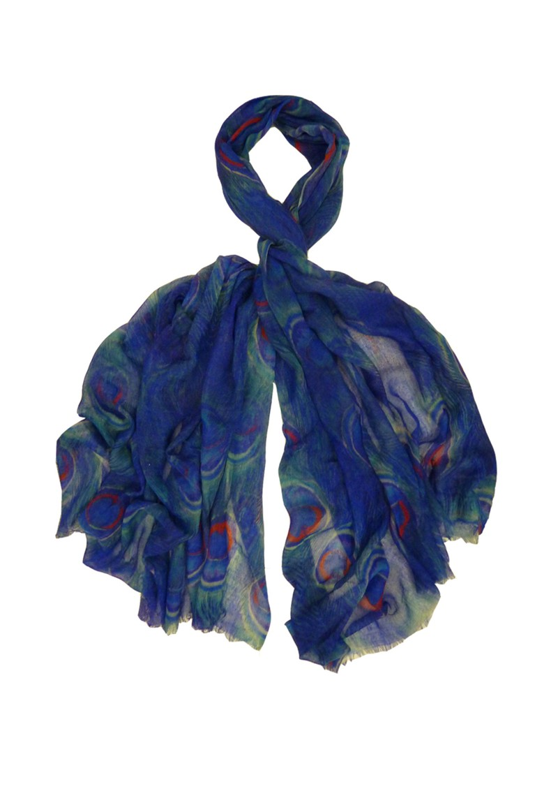 Lily and Lionel Pfeiffer Peacock Print Scarf - Blue main image