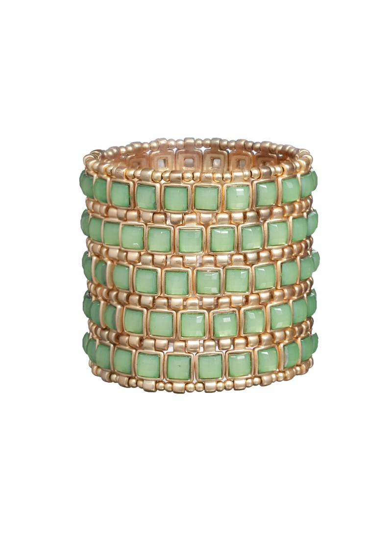 Gold Stretch Cuff With Squares - Green main image