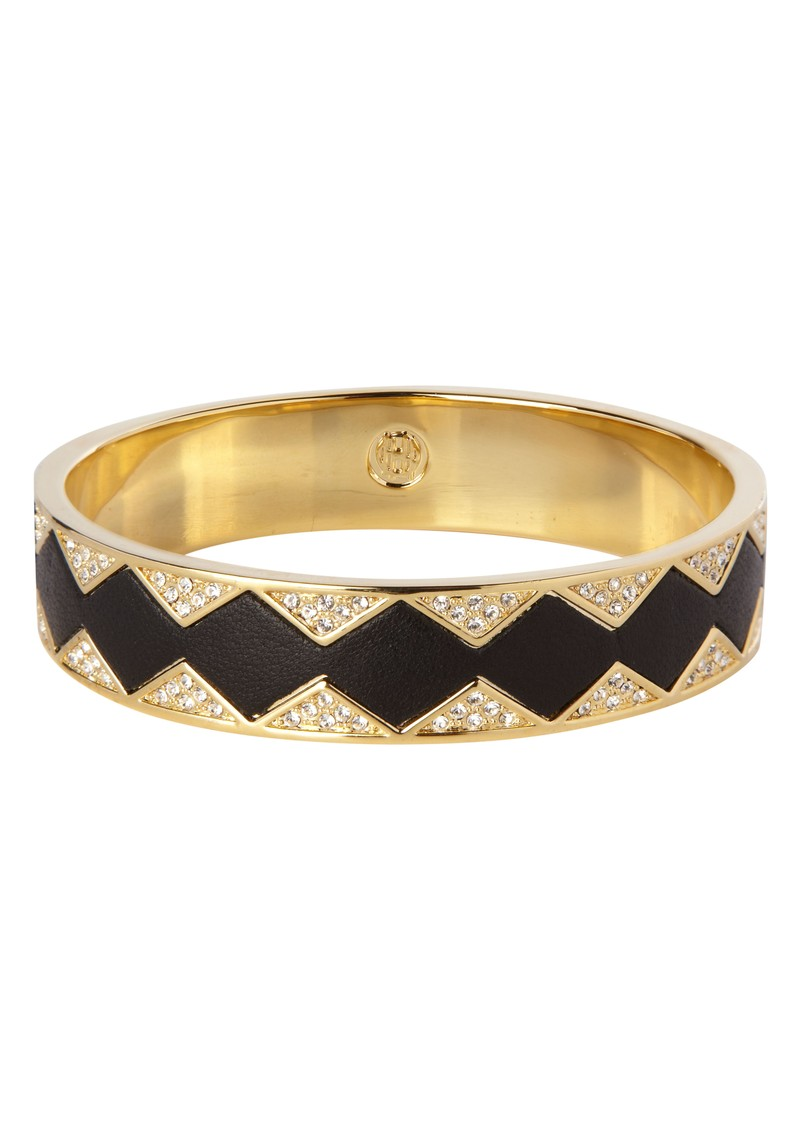 House Of Harlow Gold Crystal Pave Bangle - Black Leather main image