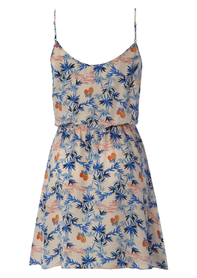 American Vintage Strap Dress - Royal Blue Palm main image