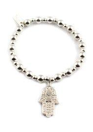 ChloBo Mini Small Ball Bracelet with Hamsa Hand Charm - Silver