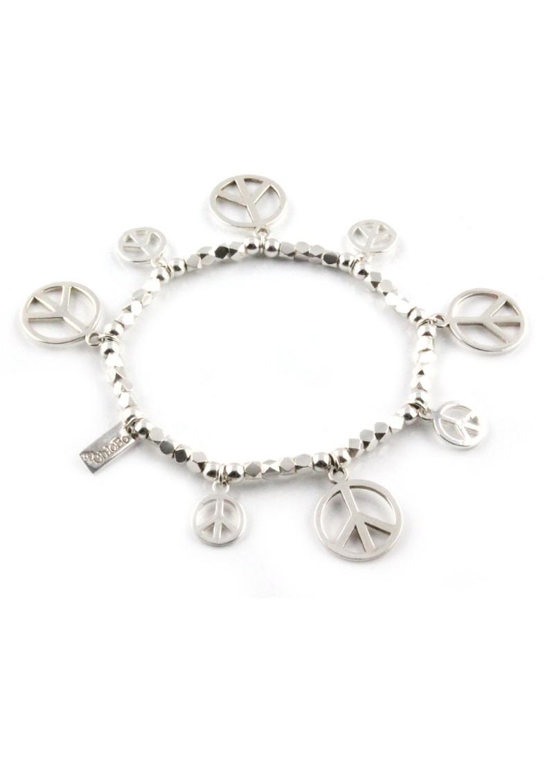 ChloBo Dreamlands Lottie Multi Peace Sign Silver Bracelet main image