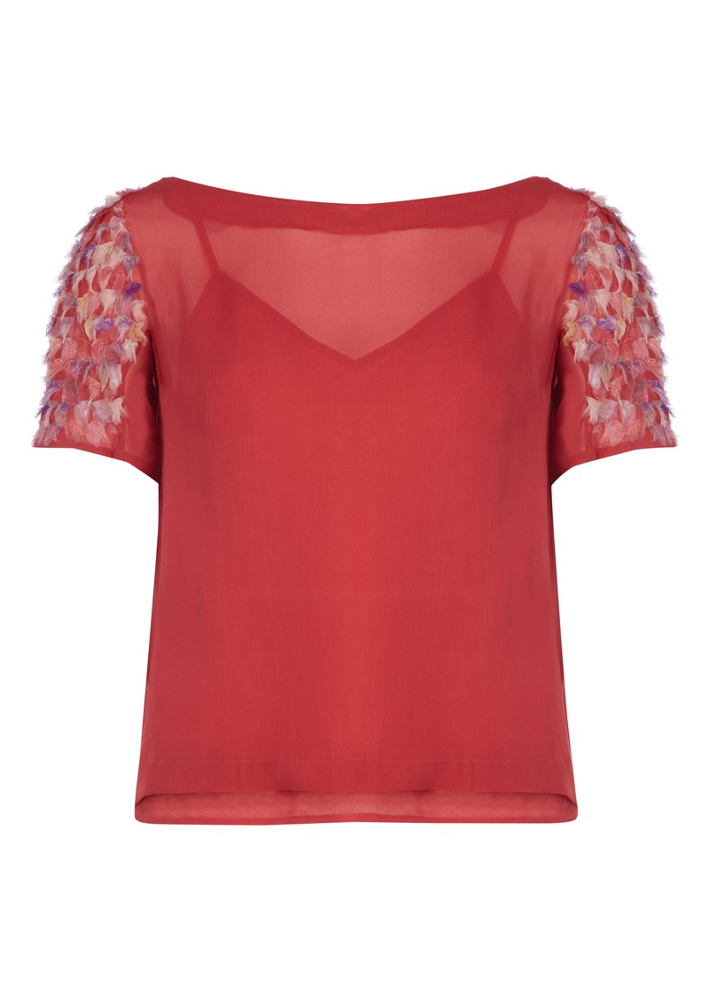 Antik Batik Thabana Silk Tee - Red main image