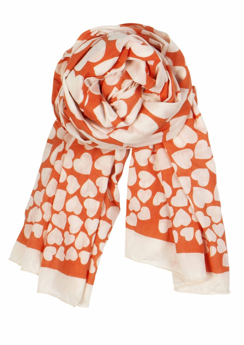 World Of Hearts Scarf - Coral main image
