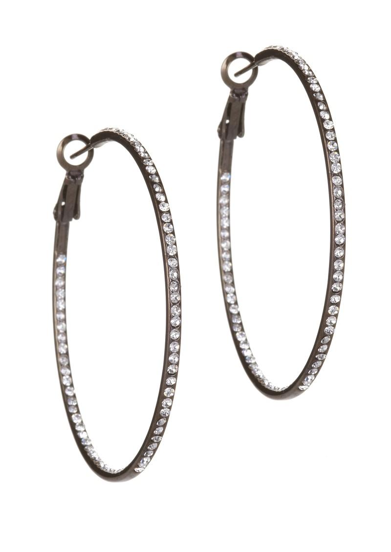 Ingenious Hoop Earrings with Cubic Zirconia stones - Black  main image