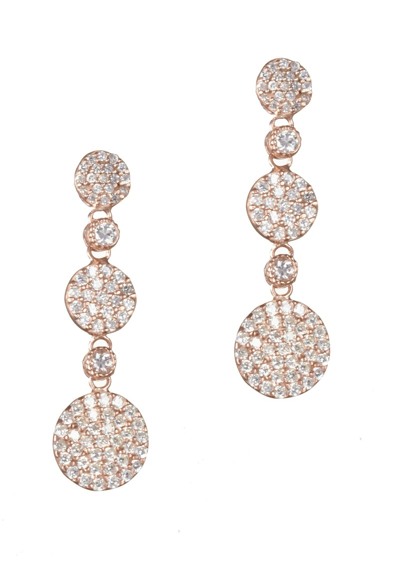 Ingenious Rose Gold Three Drop Pave Earrings - Rose Gold main image