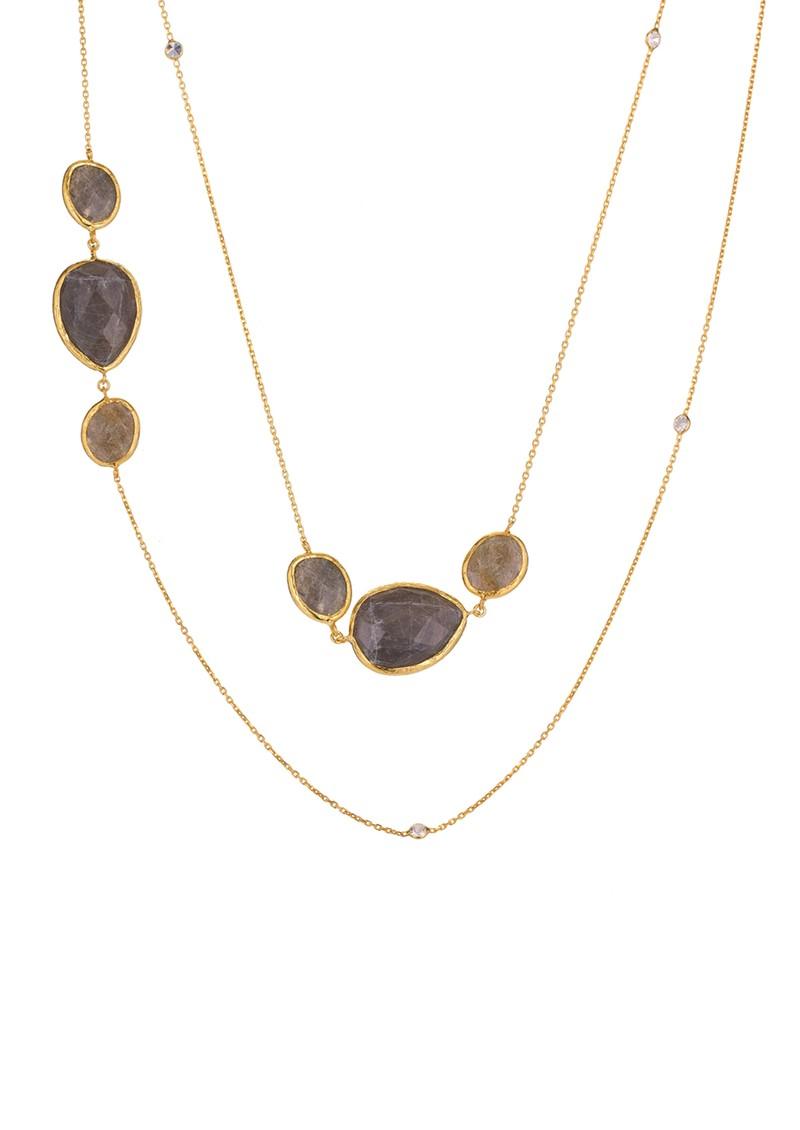 Ingenious Gold Necklace with Labradorite Stones  - Smokey Quartz main image