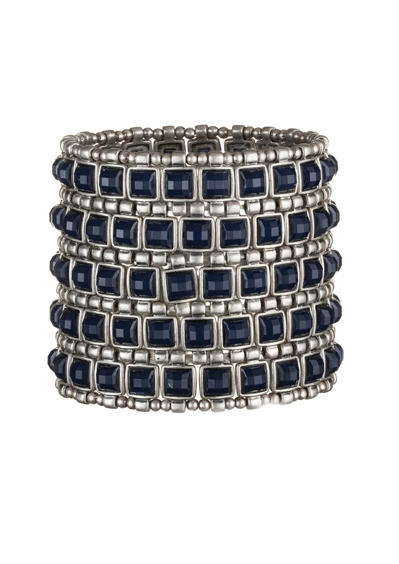 Ingenious Stretch Square Cuff - Silver & Navy main image
