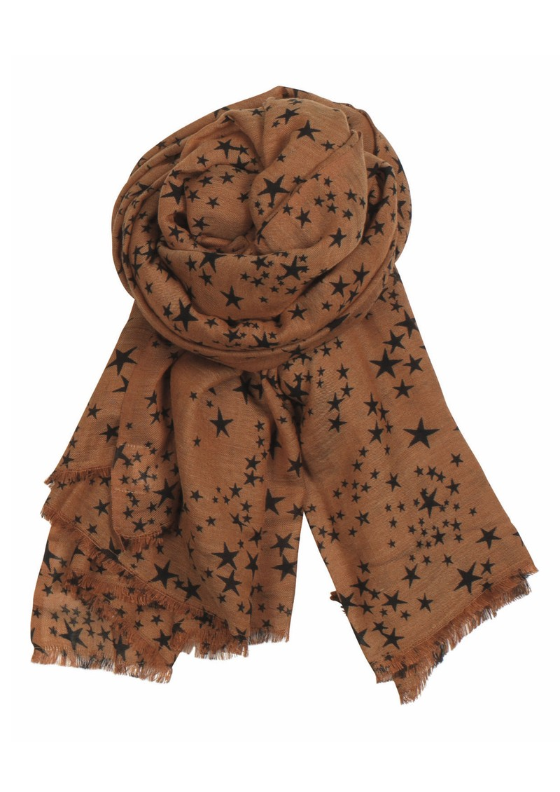 X Stamped Star Wool & Silk Blend Scarf - Cognac main image