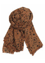 X Stamped Star Wool & Silk Blend Scarf - Cognac additional image