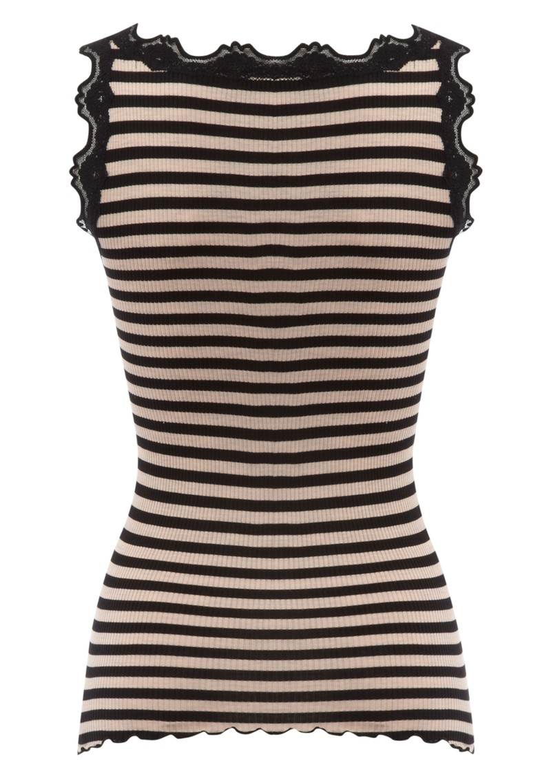 Rosemunde Stripe Silk Lace Vest - Black main image