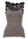 Rosemunde Stripe Silk Lace Vest - Black
