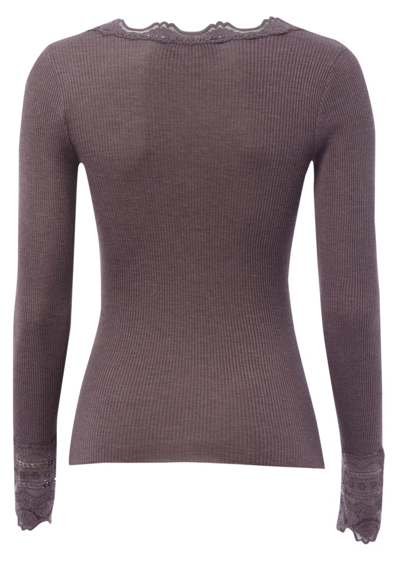 Rosemunde Long Sleeve Silk Blend Lace Top - Plum main image