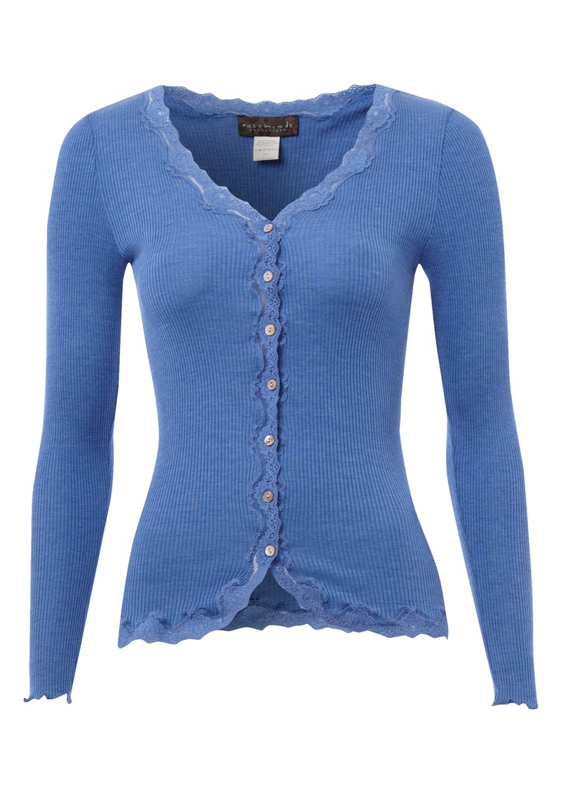 Rosemunde Long Sleeved Silk Blend Lace Cardigan - Marine main image