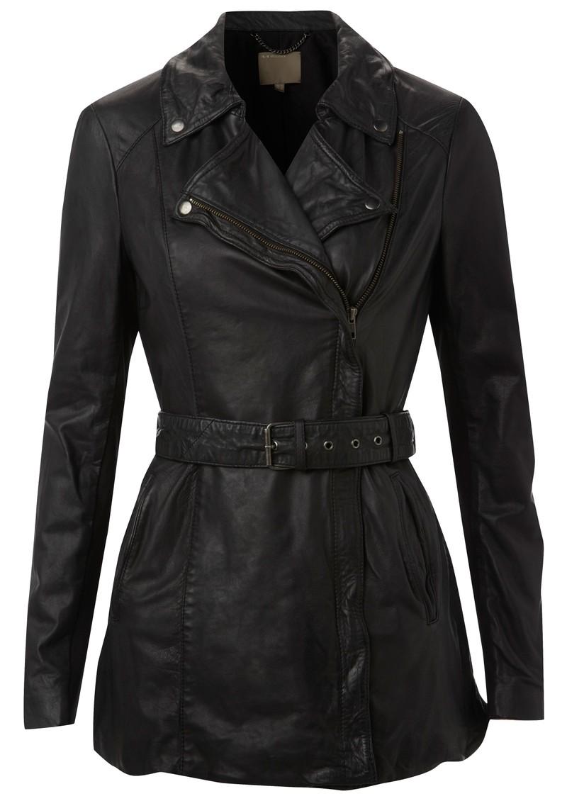Muubaa Jena Long Leather Mac - Black main image